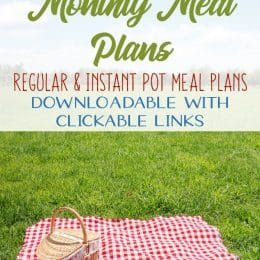 FREE August Monthly Meal Plans