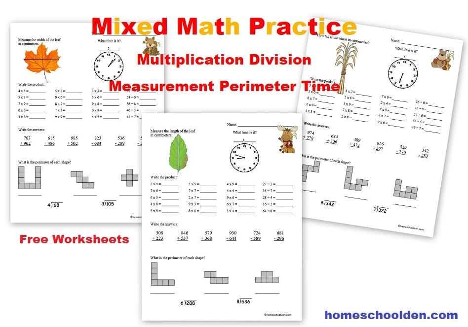 FREE Mixed Math Practice Worksheets Free Homeschool Deals ©