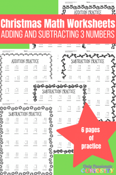 FREE Christmas Math Worksheets (+ and - with 3 numbers)