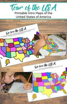 Tour of the USA printable maps