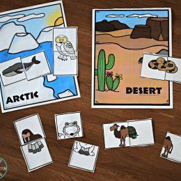 FREE Silly Animal Puzzles & Habitats Activity