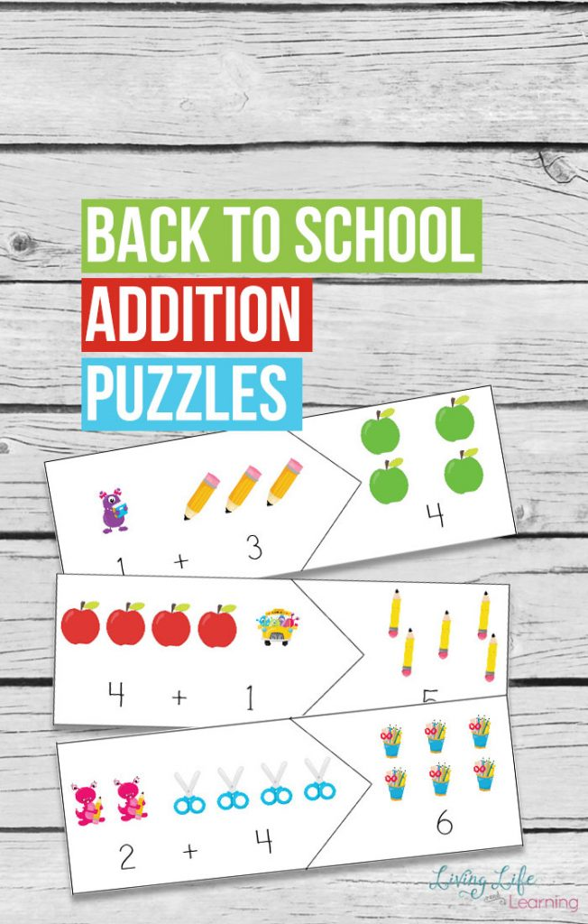 FREE Back to School Addition Puzzles (subscriber freebie)