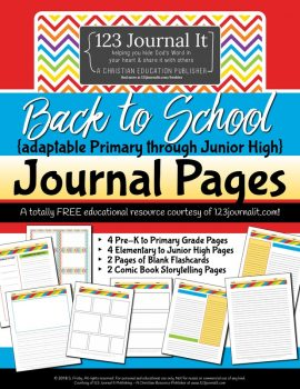 FREE Back to School Comic Book Style Journal Pages