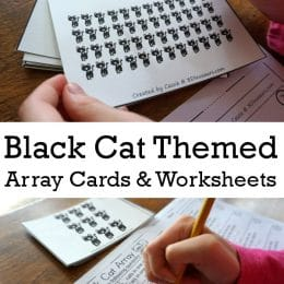 FREE Black Cat Array Cards with Matching Worksheets