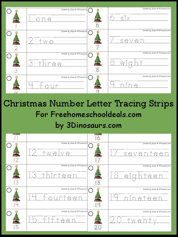 FREE Christmas Number Tracing Printable (Instant Download)