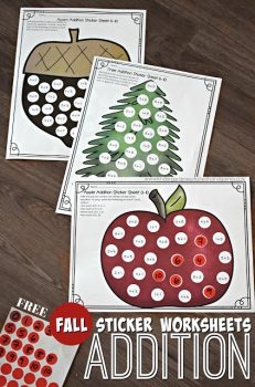 FREE Fall Addition Sticker Math Worksheets