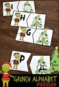 FREE Grinch Alphabet Puzzles