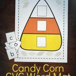 FREE Candy Corn CVC Word Mat + Alphabet Tiles