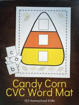 FREE Candy Corn CVC Word Mat + Alphabet Tiles
