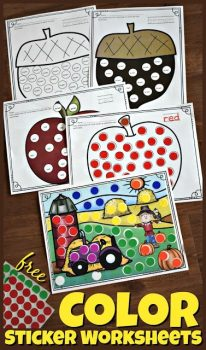 FREE Fall Color Sticker Worksheets
