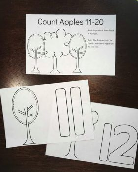 FREE Apple Tree Counting Coloring Book #11-20