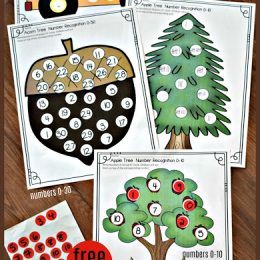 FREE Fall Numbers Sticker Worksheets