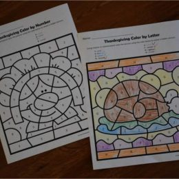 FREE Printable Thanksgiving Color by Number Sheets