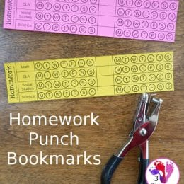 For easy homework tracking, check out these FREE Homework Punch Bookmark Cards! #fhdhomeschoolers #freehomeschooldeals #homeschoolers #homeschoolhomework #hsmamas