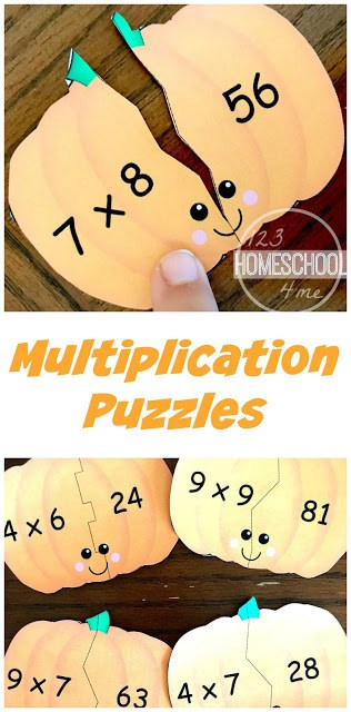 It's that time of year for pumpkin fun! Get these FREE Pumpkin Multiplication Puzzles! #fhdhomeschoolers #freehomeschooldeals #homeschoolinglife #homeschoolmoms #fallresources