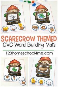 FREE Scarecrow CVC Word Building Mats