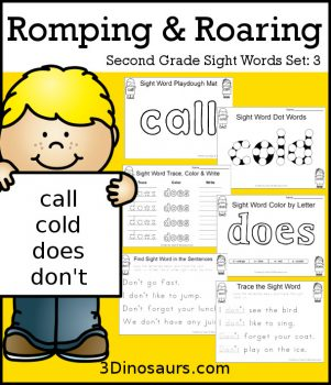 FREE Romping & Roaring 2nd Grade Sight Words Set 3