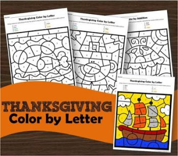 FREE Thanksgiving Color by Letter Worksheets