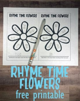 FREE Rhyme Time Flowers Printable