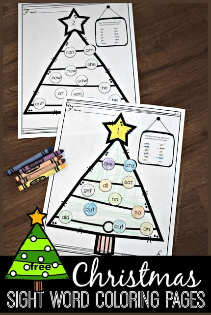 FREE Christmas Sight Words Coloring Sheets Free Homeschool Deals ©