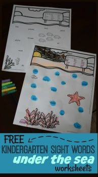FREE Under the Sea Kindergarten Sight Words