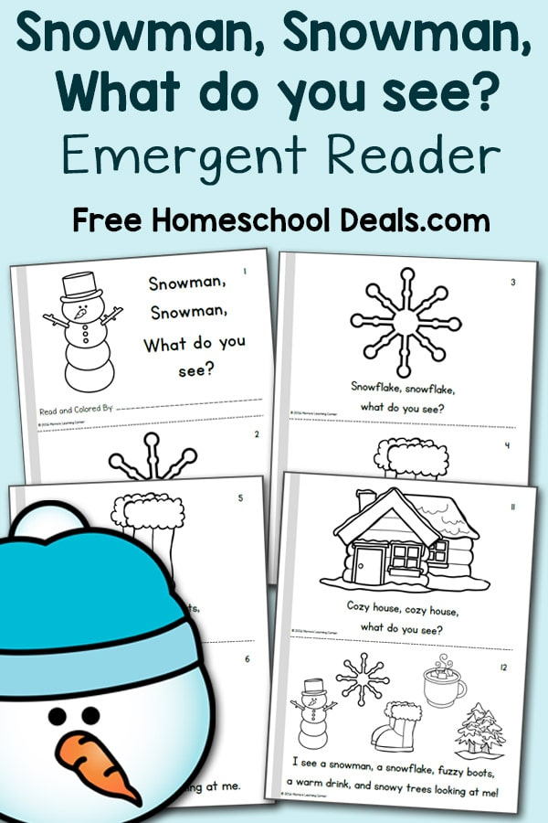 Snowman, snowman, what do you see? Free Emergent Reader