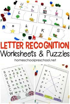 FREE Letter Recognition Alphabet Worksheets