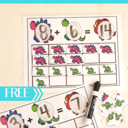 FREE Dinosaur Addition with Ten Frames Cards