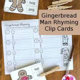 FREE Gingerbread Man Rhyming Clip Cards