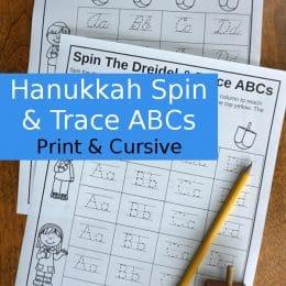 FREE Hanukkah Spin & Trace ABC's Printables
