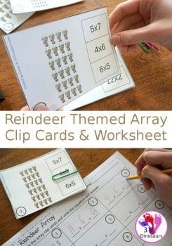 FREE Reindeer-Themed Array Clip Cards & Worksheet