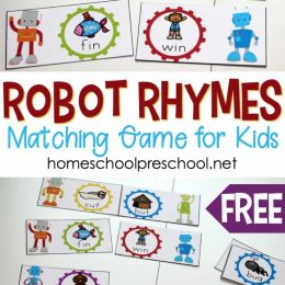 FREE Robot-Themed Rhyming Words Game