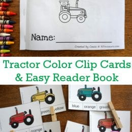 FREE Tractor Color Clip Cards & Easy Reader