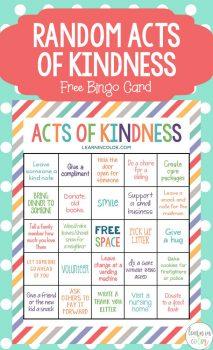 FREE Random Acts of Kindness Bingo Card