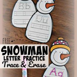 FREE Snowman Letter Practice Trace & Erase Activity