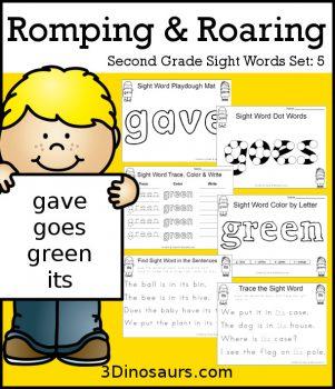 FREE Romping & Roaring 2nd Grade Sight Words Set 5