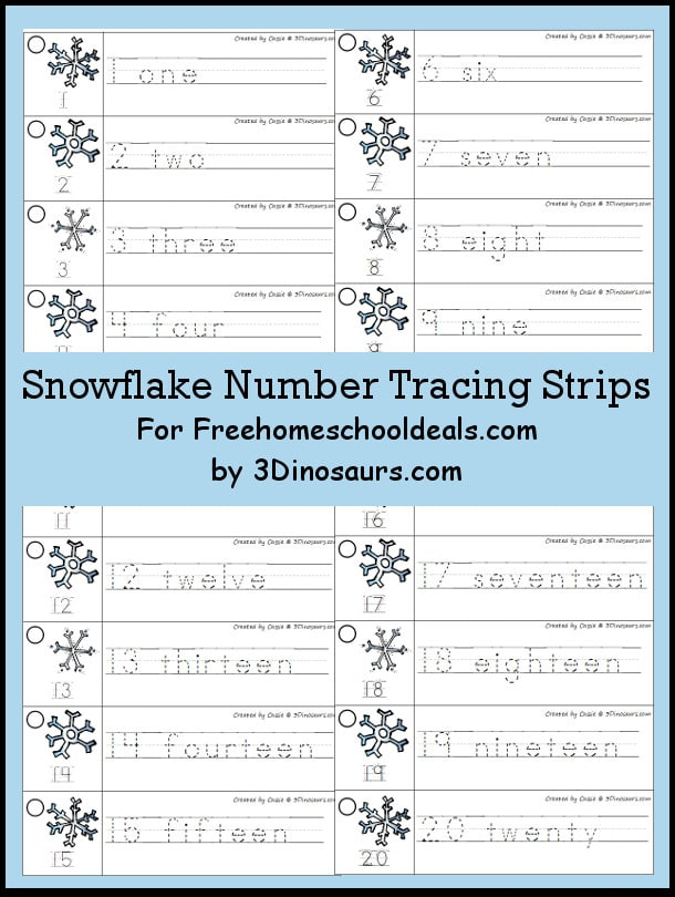 FREE Snowflake Number Tracing Strips