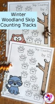 FREE Skip Counting with Winter Woodland Tracks