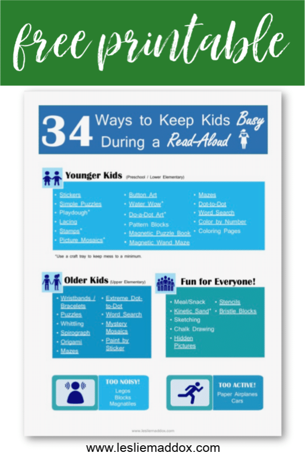 FREE Printable: How to Keep Kids Busy During Read-Alouds