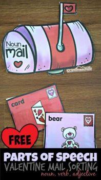 FREE Parts of Speech Valentine Mail Activity