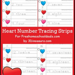 FREE Heart Number Tracing Strips (Instant Download)