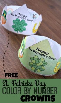 FREE St. Patrick's Day Color by Number Crowns