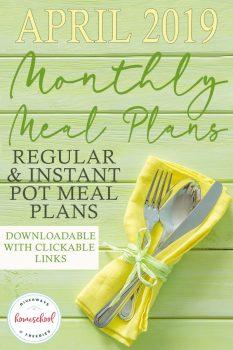 FREE April 2019 Meal Plans