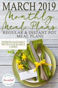 FREE March Monthly Meal Plans!