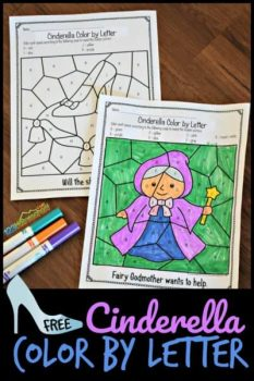 FREE Cinderella Color by Letter