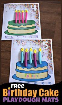 FREE Birthday Cake Playdough Mats