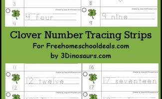 FREE Clover Number Tracing Strips (Instant Download)
