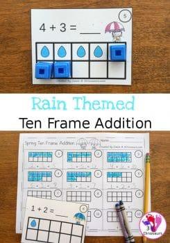 FREE Raindrop Ten Frame Addition Cards