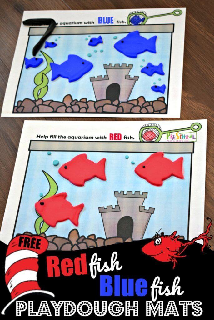 FREE Red Fish Blue Fish Playdough Mats