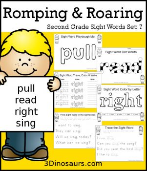 FREE Romping & Roaring 2nd Grade Sight Word Set 7